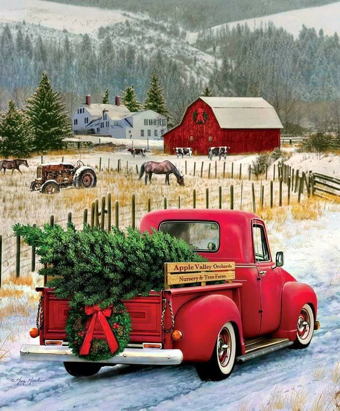 Old Truck With Christmas Tree Painting.Pin By Bonnie Mclafferty On Its The Most Wonderful Time Of