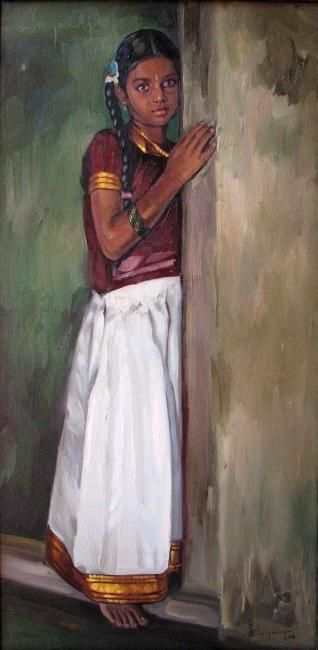 Village girl 2010  Painting, 2 x 3.5 fe by S.Elayaraja