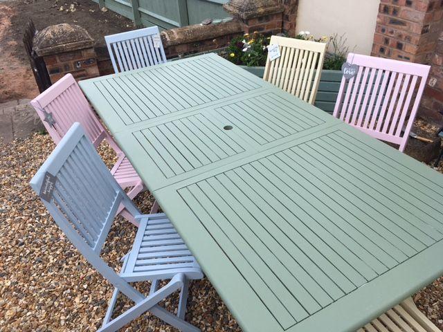 Wooden Garden Furniture Dekorationcity Com In 2020 Painted Garden Furniture Wooden Garden Table Wooden Garden