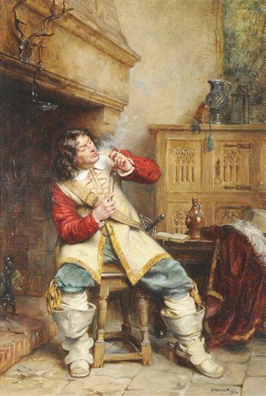 Művész Frank Moss Bennett, The Contented Cavalier, készült olaj, vászon