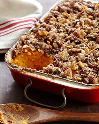 Sweet Potato Casserole - Sweet potatoes grow in abundance in Alabama, where sculptor Sandi Stevens' family eats them year-round. This casserole is a Stevens favorite: silky pureed sweet potatoes topped with a sweet and crunchy pecan-cornflake topping. If you don't have pecans or cornflakes on hand, Stevens says the topping can be made with whatever nut or cereal is in the cupboard