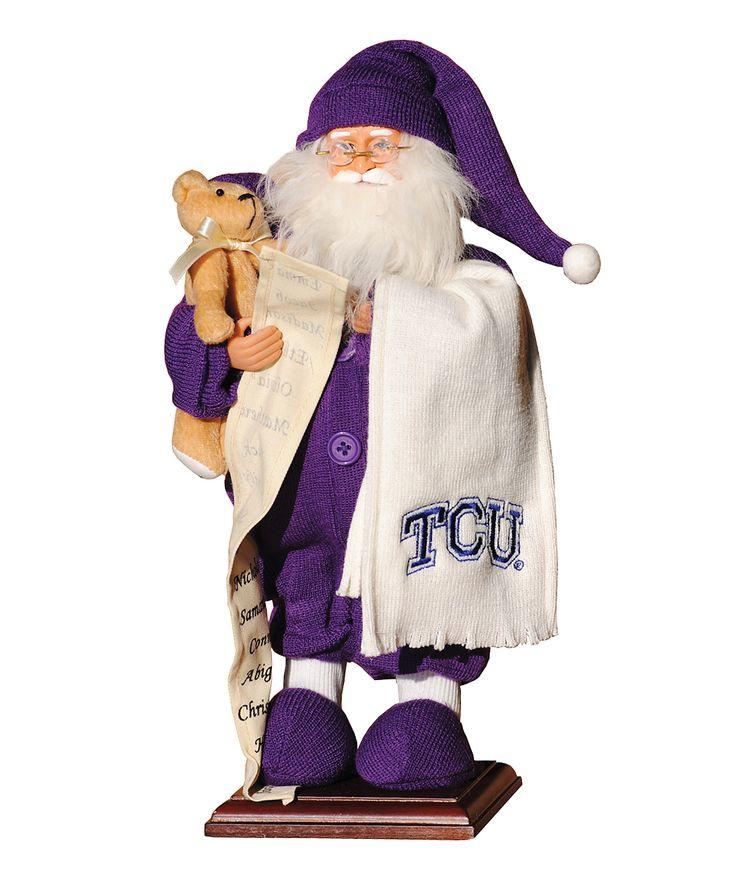 TCU Horned Frogs Pajama Santa Figurine