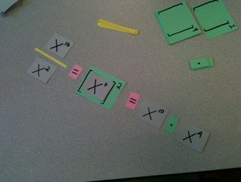 Exponent Game - A little complex in that it uses a lot of materials.Ss must use their cards to create an expression equal to a given value.