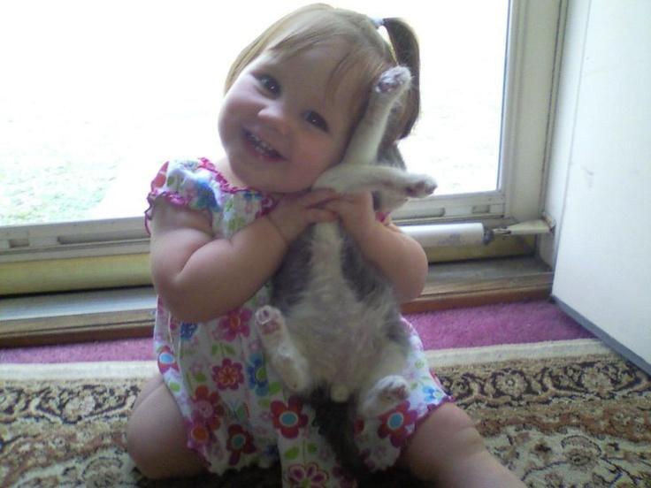 aww she loves her kitten: Humor Pinterest, Little Girls, Kitty Cat, For Kids, Kids Fashion, Baby Need, Poor Kitty, Baby Clothing, Kids Clothing