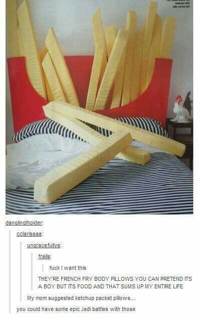 French fry body pillows also double as headboard. Amazing.