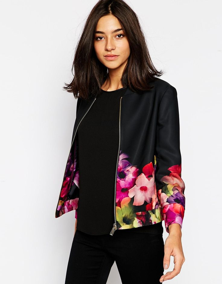 Image 1 ofTed Baker Bomber Jacket in Cascading Floral Print