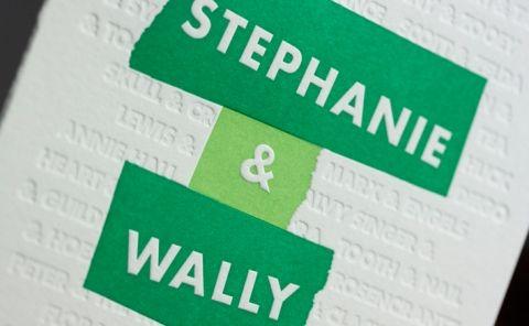 Stylish (green!) #letterpress wedding invitation by Vote For Letterpress from South Orange, NJ