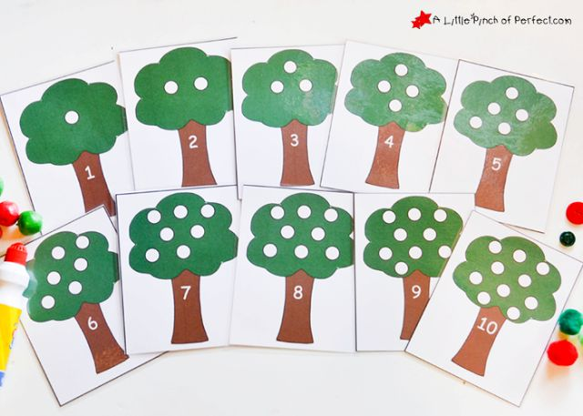 Counting and Addition Apple Tree Math Activity + Printable | A Little Pinch of Perfect