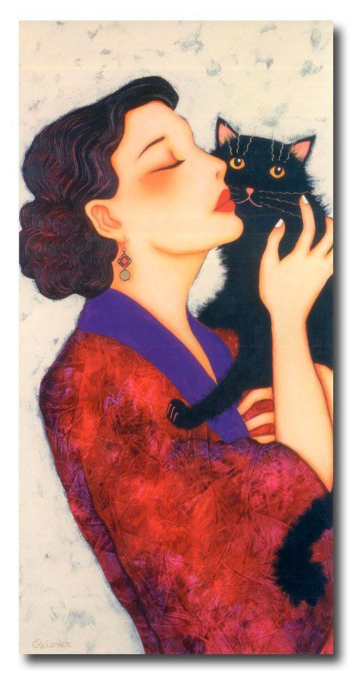 Aurélia, Corinne Reignier. Woman with black cat