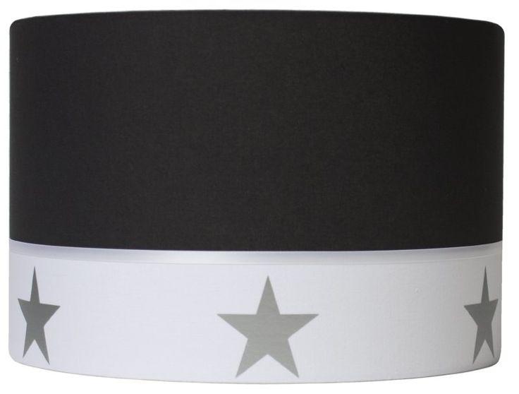 Lampenkap zwart/wit met zilveren sterren
