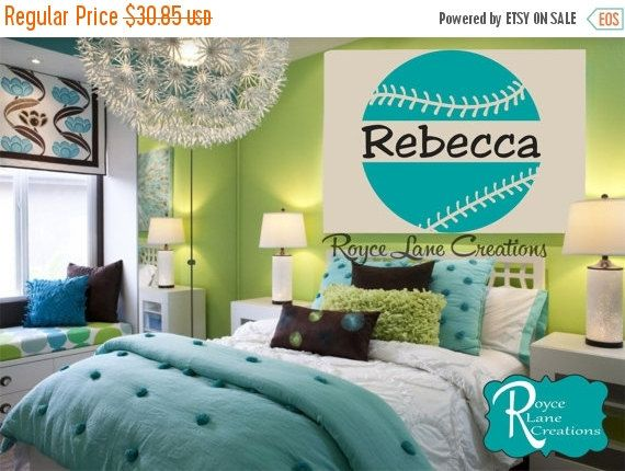 softball decal with personalized name b15 sports vinyl wall decal girls room teen girl boy room decor wall art softball wall decal