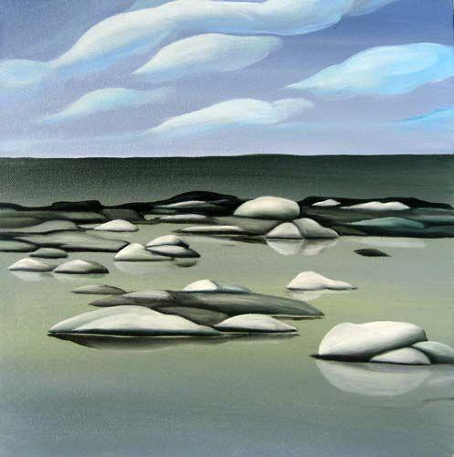 "Deb Gibson, Canadian Artist, Georgian Bay, oil on canvas. 12' x 12"""