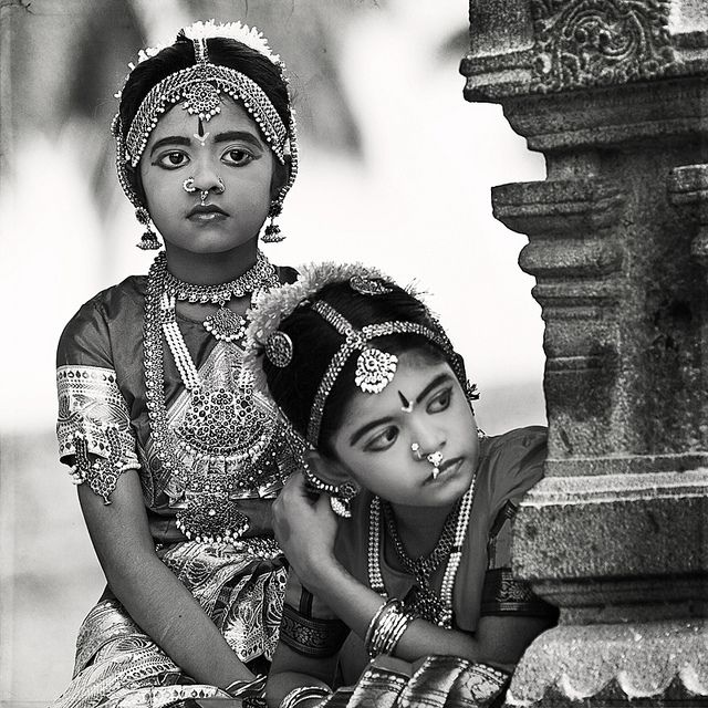 Girls in Bharatnatyam, a form of classical dance, costume. State of Tamilnadu, India.