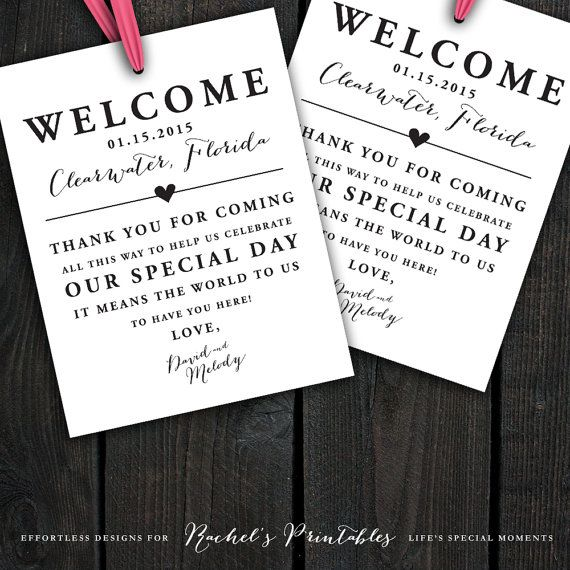 Custom printable wedding welcome bag tags labels hotel for Destination wedding gift bags
