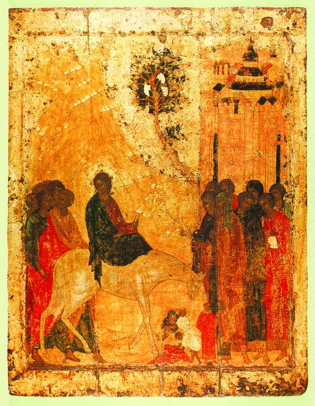 1405 г.   Вход в Иерусалим.  Икона праздничного чина иконостаса..