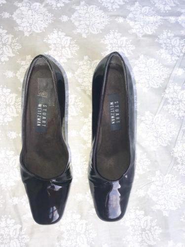 06473ba331a Stuart Weitzman Patent Dark Red Leather Womens Block Heel Square Toe Pumps  Sz 8  StuartWeitzman