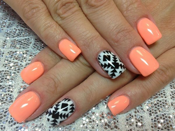 coral aztec nails