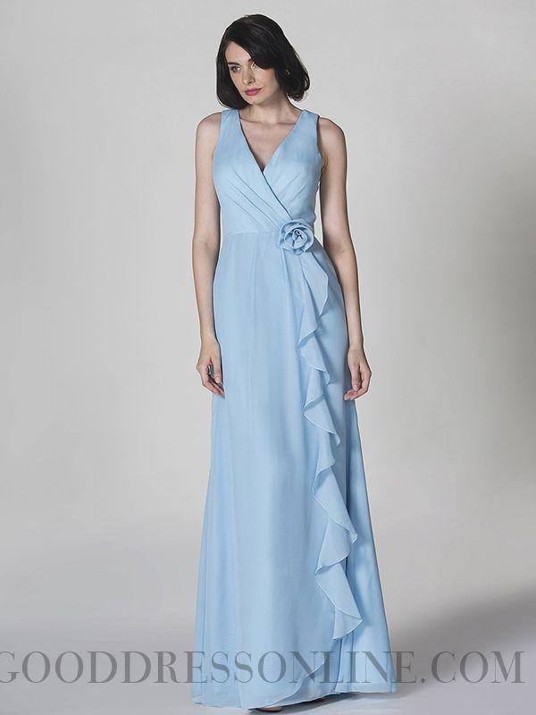 2013 Modest V-neck Sheath / Column Chiffon Prom Dresses