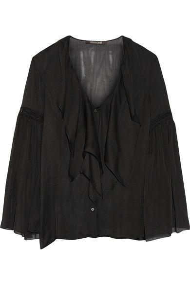 Roberto Cavalli - Crochet-trimmed Ruffled Silk-chiffon Shirt - Black - IT50