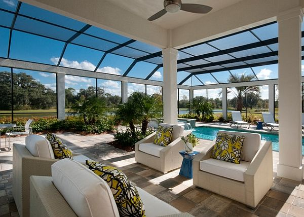 Contemporary porch and pool area offer unobstructed view of the outdoors