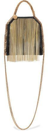 Stella McCartney Tiny Falabella Fringed Faux Brushed-Leather Shoulder Bag
