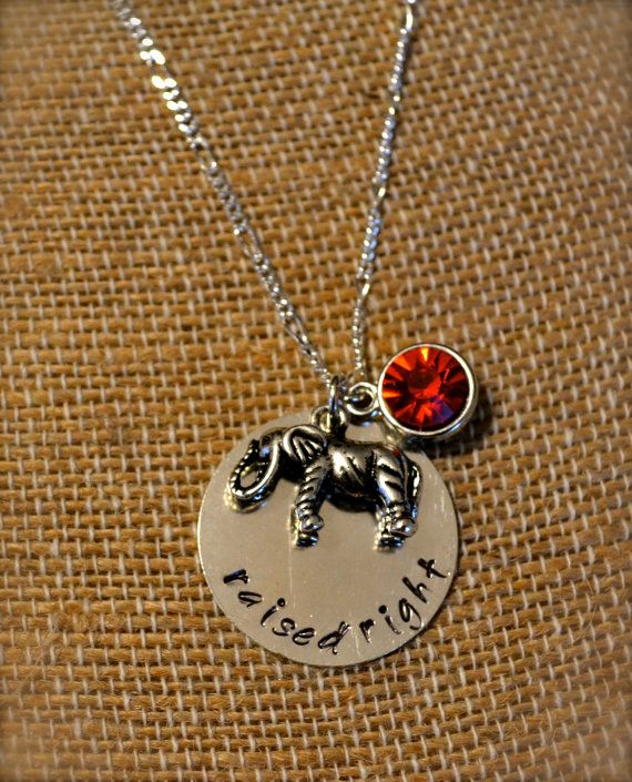 """Republican """"Raised Right"""" Silver Pendant Necklace with Elephant and Red Gem Charms $15 by ClassyCraftsbyAsh"""