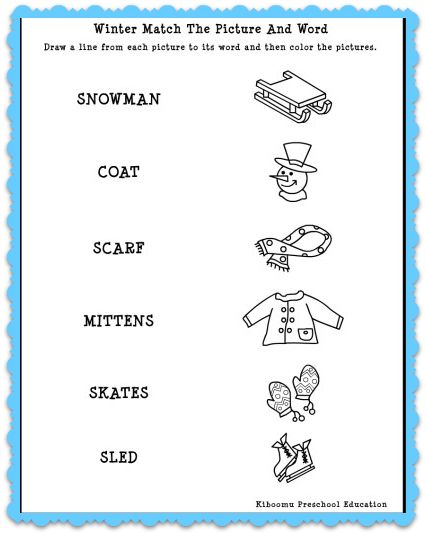 winter match the words to pictures match the words to pictures winter worksheet and free winter. Black Bedroom Furniture Sets. Home Design Ideas