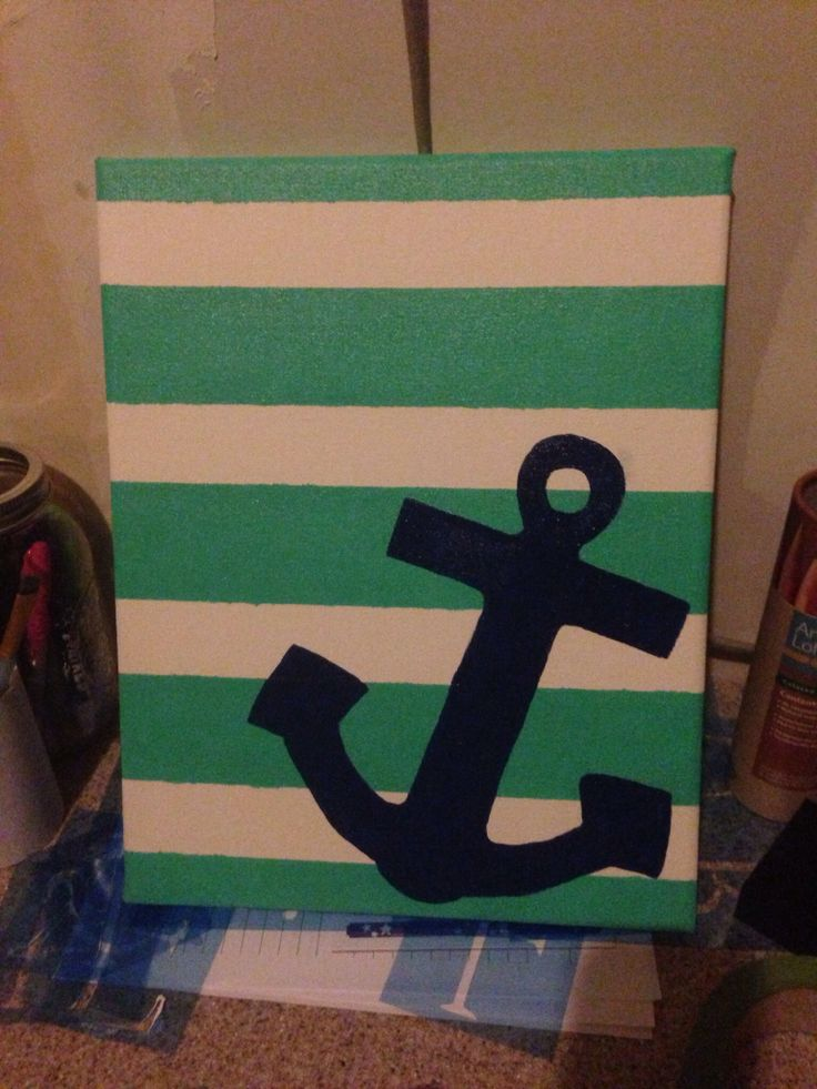 Striped Anchor Canvas - painted by Kait Albanese - I can't decide if I want to add anything else to it. Suggestions are welcome!!