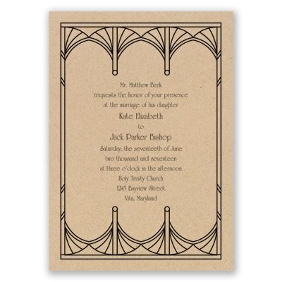art deco arcs wedding invitation | kraft paper wedding invites at Invitations By Dawn