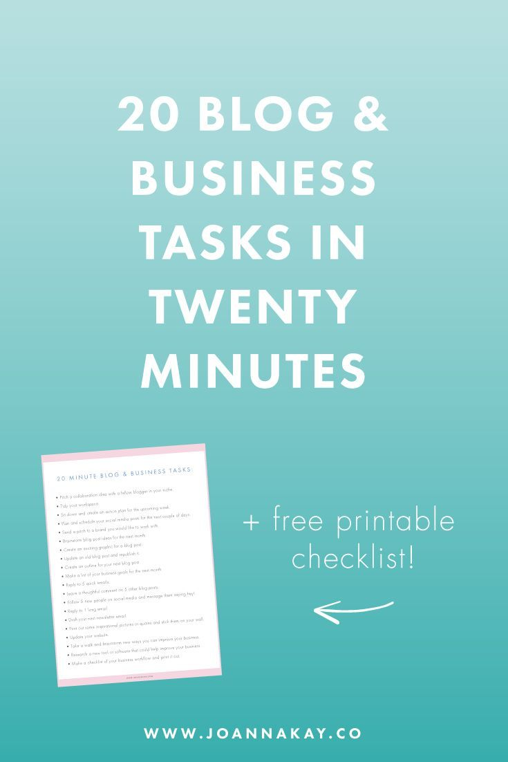 20 blog and business tasks you can do in twenty minutes + free checklist.