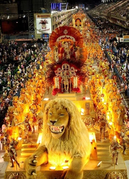 A Rio Carnival in Brazil. Can we expect this at the opening ceremony in Rio 2016? We love the idea of a huge lion as entertainment!