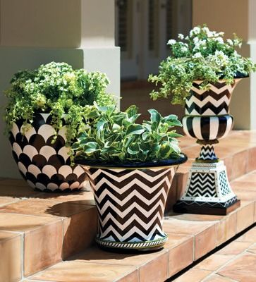 Hand Painted Zoey Lulu Planters Outdoor Flower Potswhite