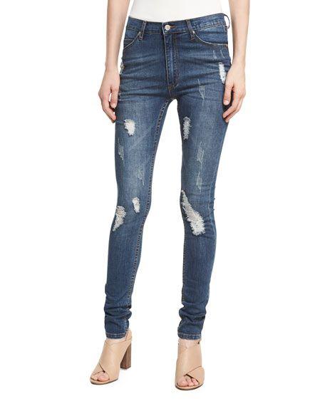 CHEAP MONDAY Second Skin Distressed Skinny Jeans, Medium Blue. #cheapmonday #cloth #