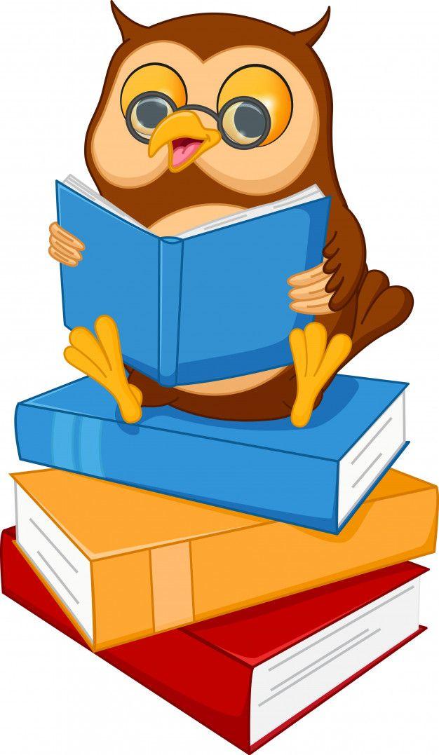 Buho Sabio De Dibujos Animados Lindo Leer Un Libro Vector Premium Dibujos De Libros Animados Libros Para Leer Libros Animados