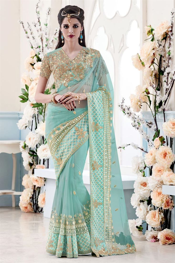 Online Shopping of Sky Blue Net Designer Embroidered Saree-3912 from SareesBazaar, leading online ethnic clothing store  offering  latest collection of sarees, salwar suits, lehengas & kurtis