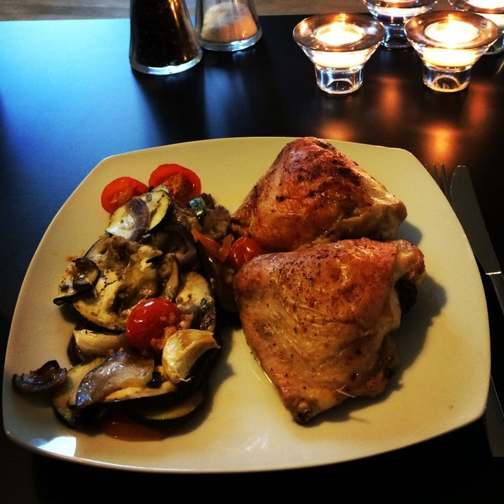Kyllingeoverlår m Ovnstegte Grøntsager i Fad