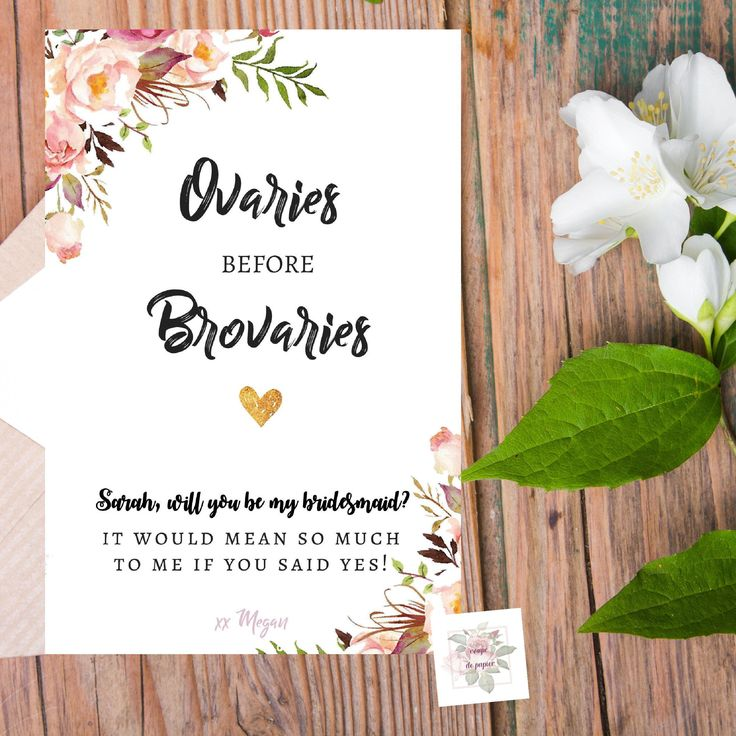 Ovaries Before Brovaries | Parks and Rec | Funny Will You Be My Bridesmaid Card, Maid of Honor, Matron of Honor | Funny Proposal Card by CoupeDePapier on Etsy