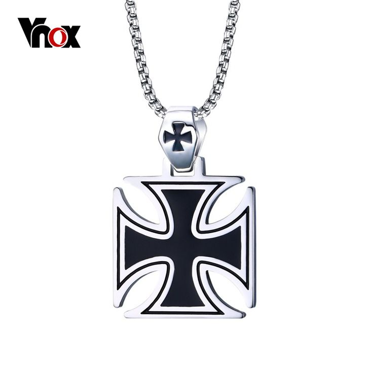 Vnox Mens Corss Necklace Stainless Steel Vintage Maltese Iron Cross Pendant Necklace Knights of the Temple #Affiliate