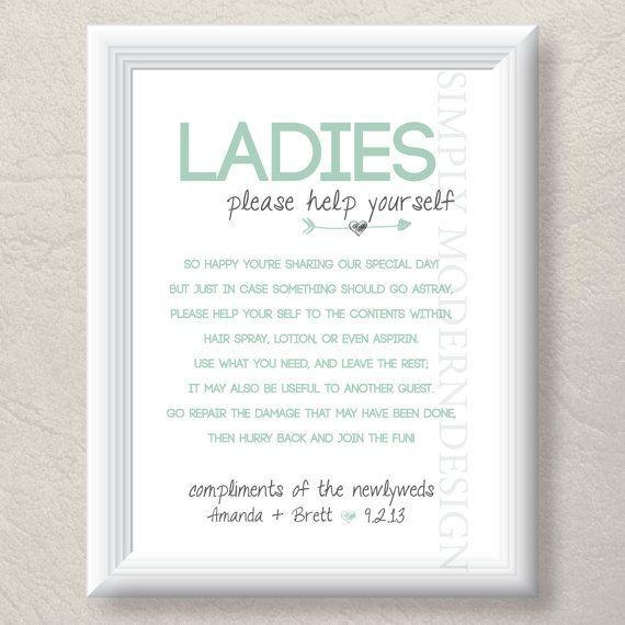 wedding bathroom basket | Bathroom at a Wedding. bathroom basket sign both genders rustic by ...
