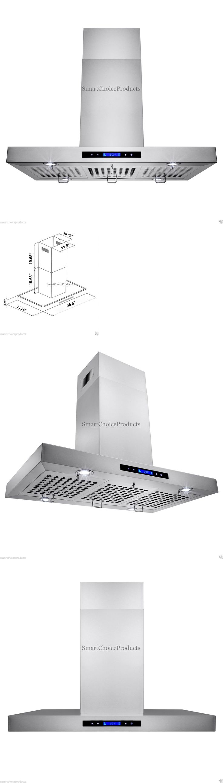 Major Appliances: New 36 Kitchen Island Mount Stainless Steel Range Hood Vent W/ Baffle Filters BUY IT NOW ONLY: $299.99