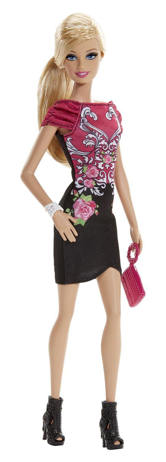 Amazon.com: Fashionista Barbie Doll, Black and Pink Floral Dress: Toys & Games