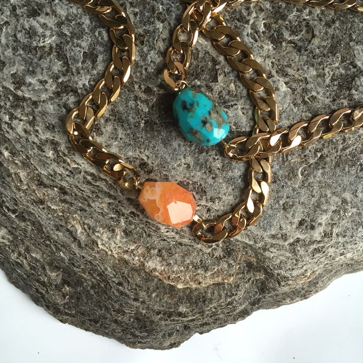 Chunky chokers carnelian and turquoise www.cathypope.co.nz