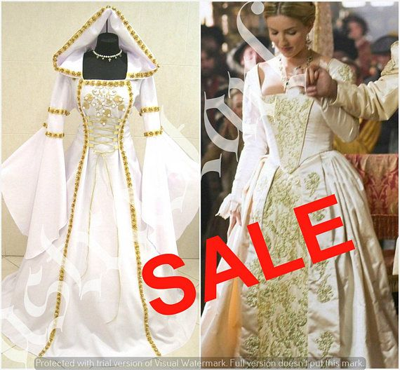 Medieval wedding dress 16-18-20 L-XL-2XL gothic witch tudor renaissance costume lotr larp handfasting wicca victorian games of thrones gold