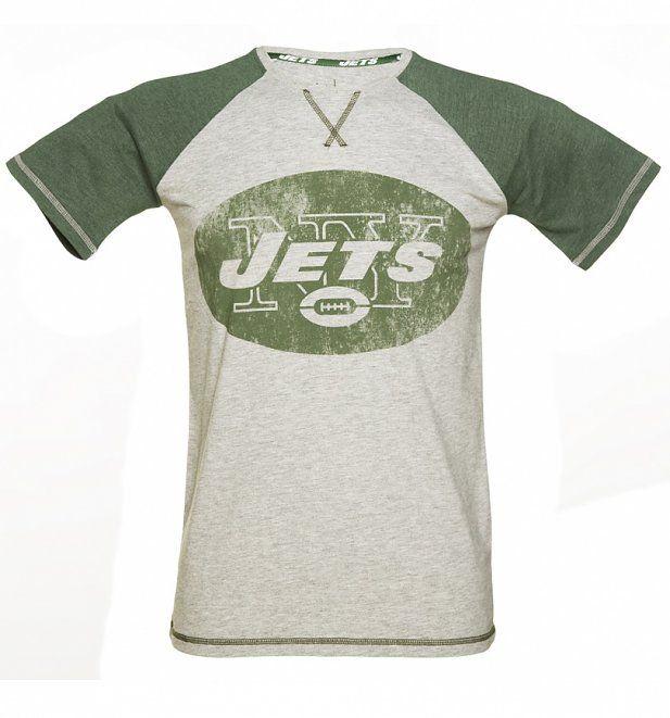 Men's Grey And Green New York Jets NFL Raglan T-Shirt