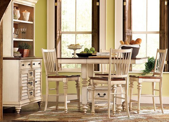 Dining Rooms, Southport Pub Table - Distressed White, Dining Rooms ...