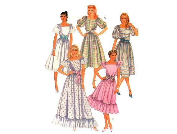 1980s Romantic Dress Pattern 1980s Square Neckline Ruffle Puff Sleeves Formal Gown Peasant Dress McCalls 8495 Bust 34 Vintage Sewing Pattern on Etsy, $7.00