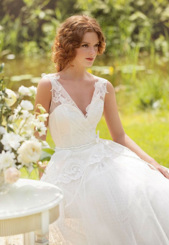 Designer Wedding Dress Vintage style Wedding gown with French lace and tulle Made to order Price will increase in March
