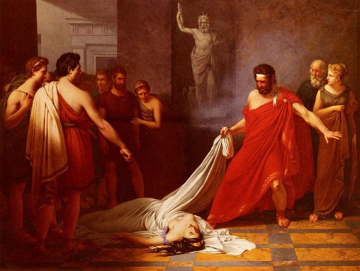 "necspenecmetu: "" Charles Auguste van den Berghe, Aegisthus, Believing He Has Found the Body of Orestes, Is Surprised to Find Clytemnestra, 1823 """