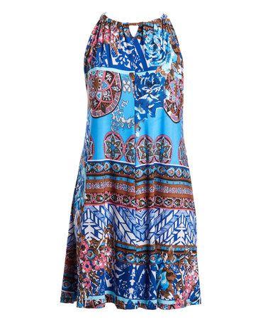 Blue & Brown Mixed Media Keyhole Sleeveless Dress - Plus #zulily #zulilyfinds