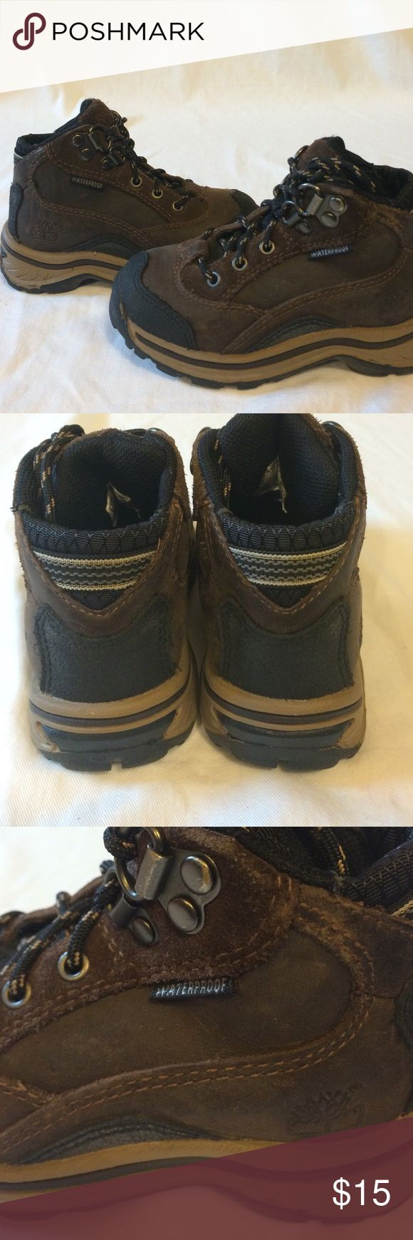 BOYS Timberland boots Waterproof timberland boots. Genuine and manmade leather. Worn, see pictures for signs of wear. In good condition. Timberland Shoes Rain & Snow Boots
